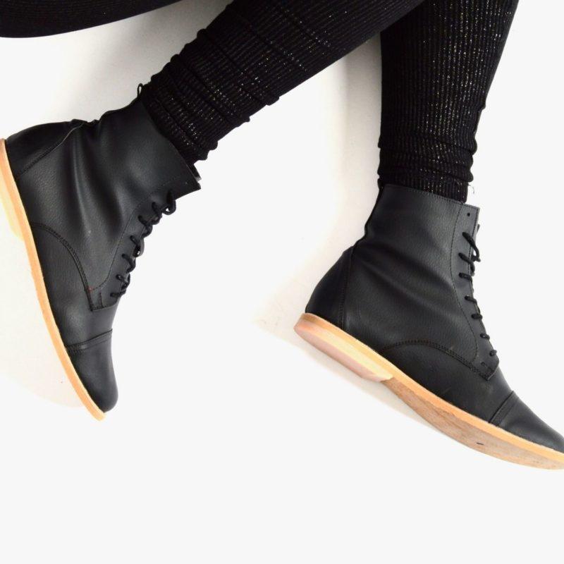 89v schwarz vegane stiefel