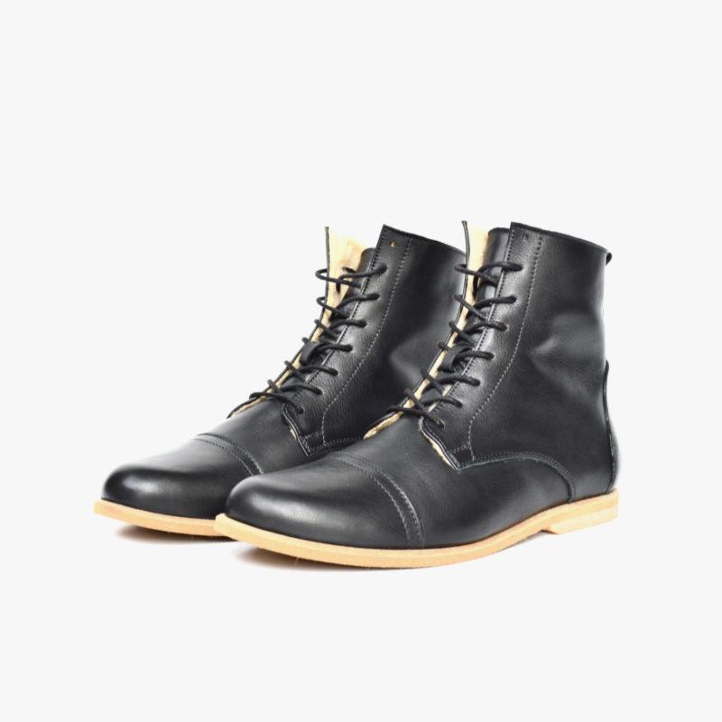 Leder Stiefel schwarz warm gefüttert