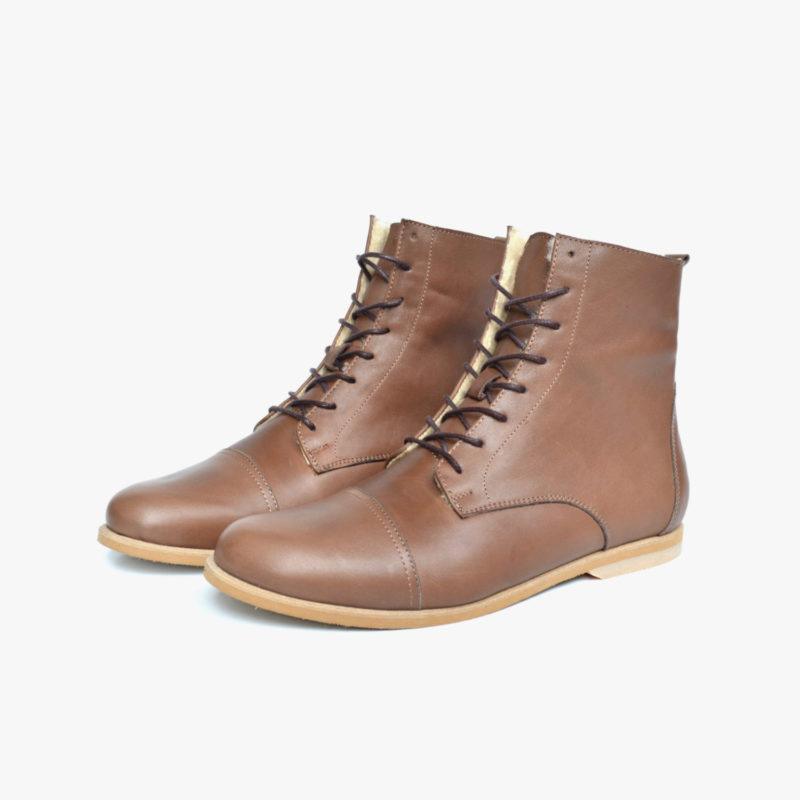 braune Leder Stiefel Boots Herren Damen Unisex