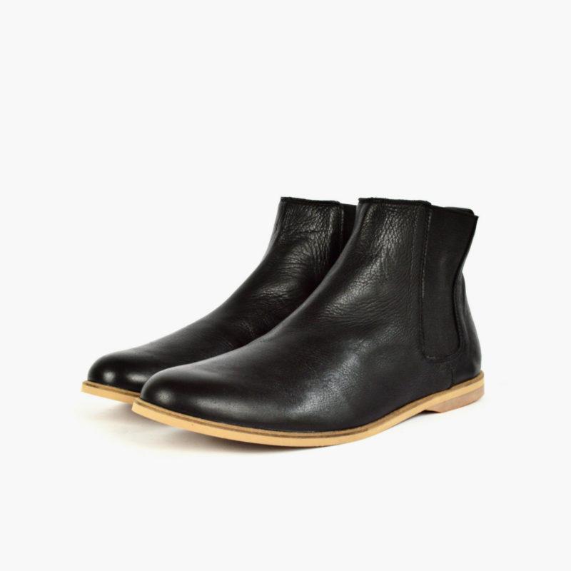 schwarze Leder Chelsea Boots Damen Herren