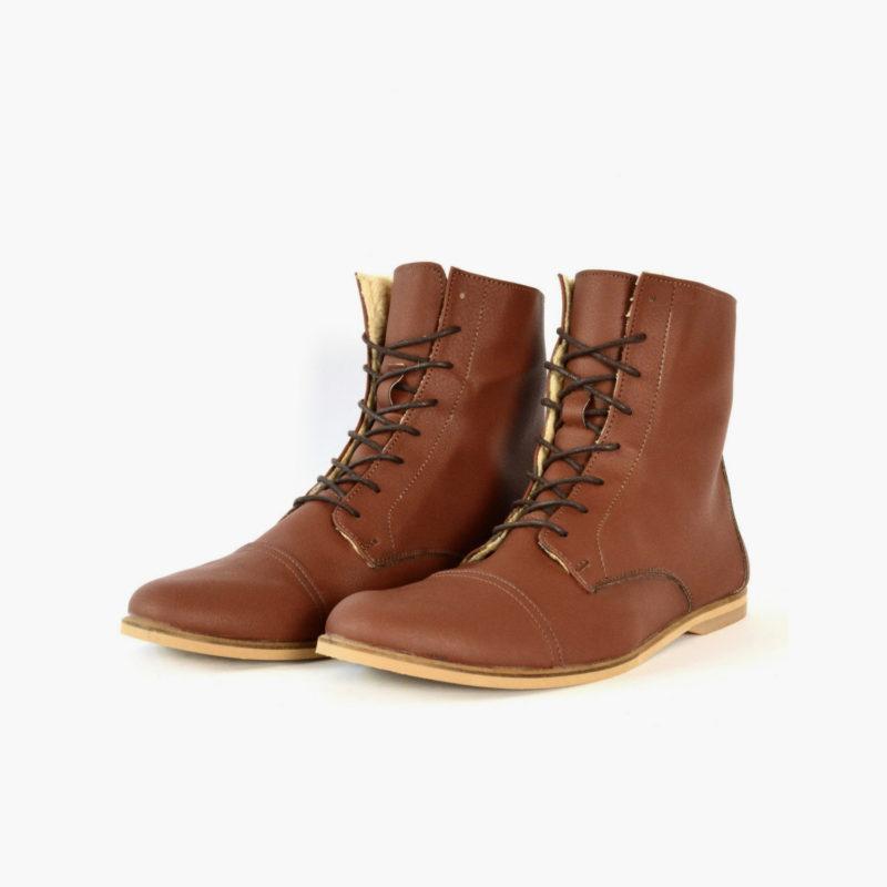 warme Vegane Stiefel Schuhe Braun