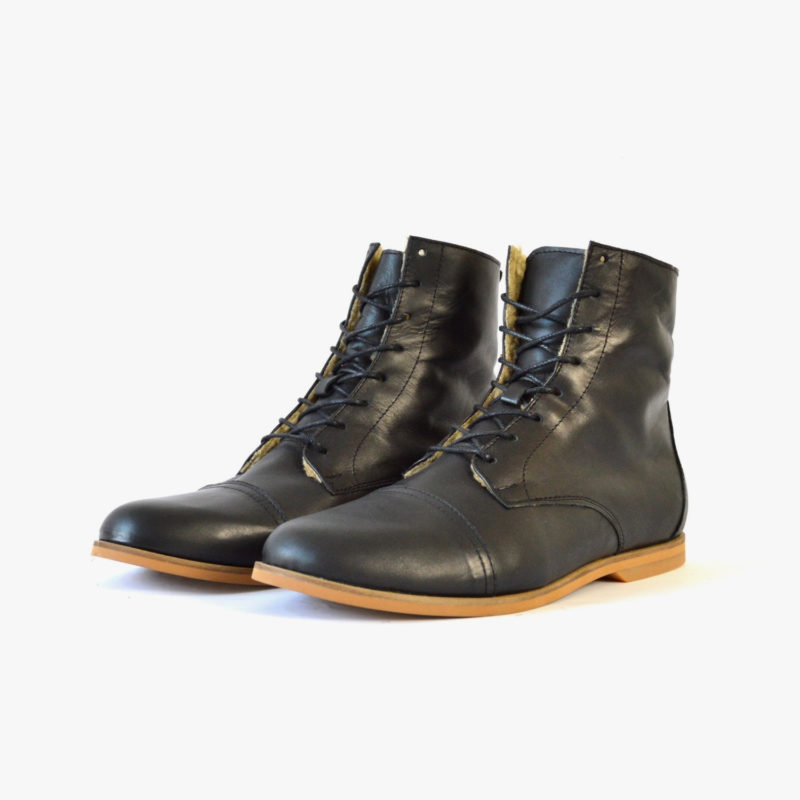 leather boots black sustainable