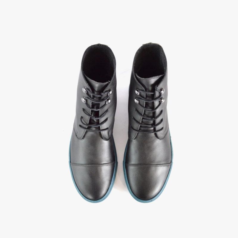 steifel boots schwarz leder blaue sohle herren damen