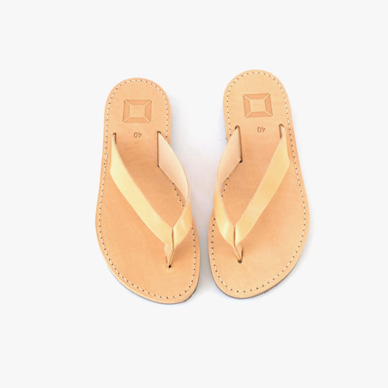 Leather nature brown flip-flops