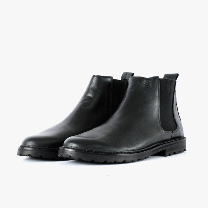 chelsea boots schwarz leder fair hergestellt