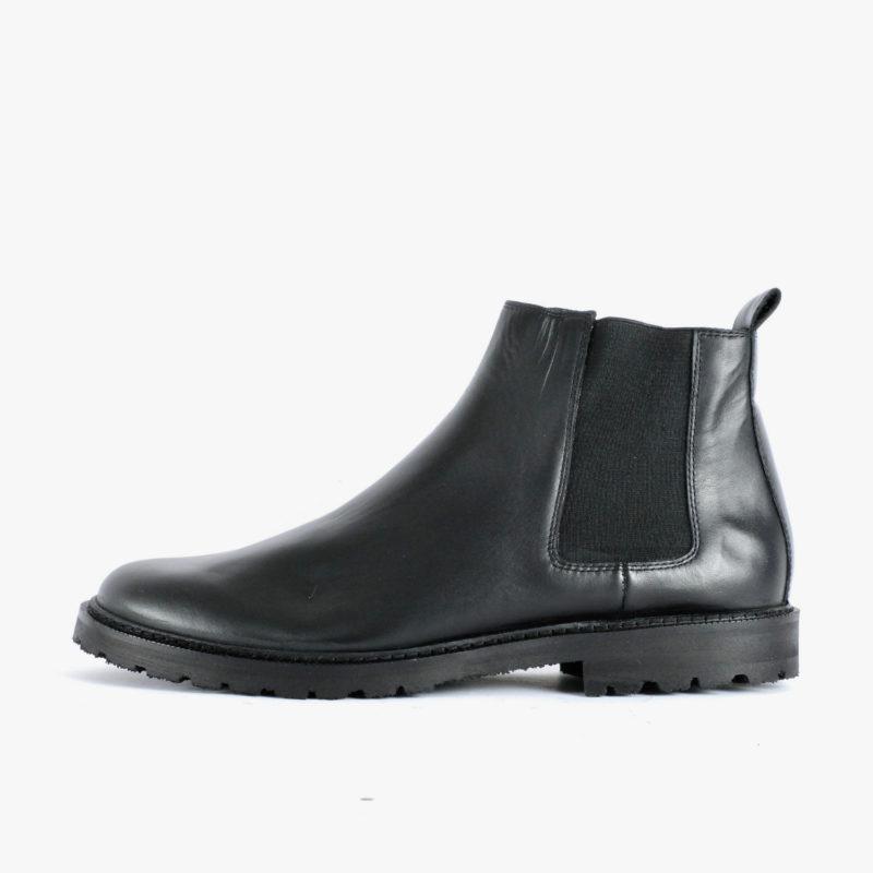 faire leder chelsea boots schwarz