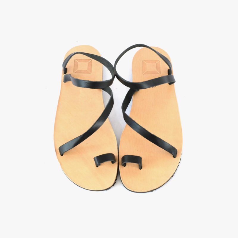 sandals black women leather