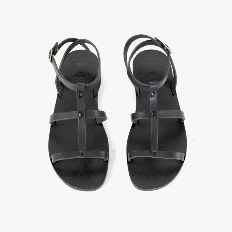 Sandalen Leder schwarz Damen Sommer